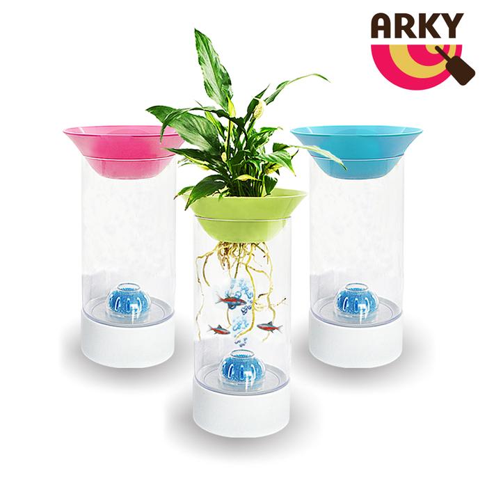 ARKY 魚草共生幫浦迷你圓柱生態缸粉紅