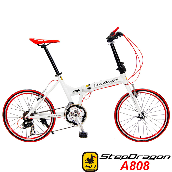 【超值送9大配件】【StepDragon】 A808 20吋451 日本 Shimano24速指撥式定位變速 鋁合金折疊車法拉利紅