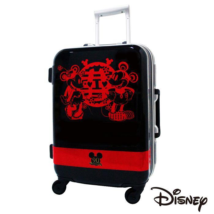 【日本 Disney】迪士尼90週年紀念 19.5吋 PC 拉桿 360度靜音輪 輕量 行李箱-囍字