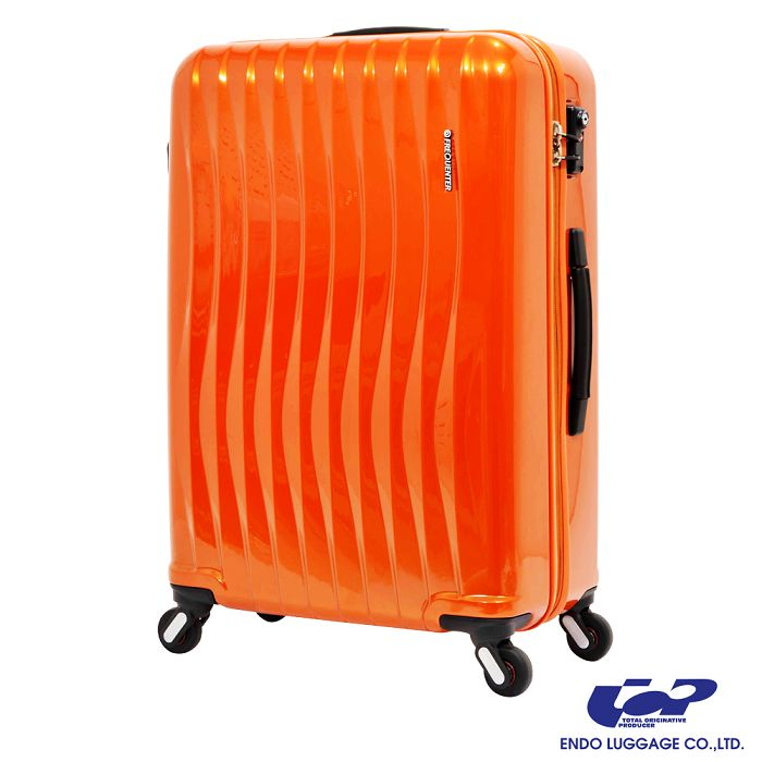 【日本 ENDO】極輕波紋 19.5吋 PC 拉鍊拉桿 360度超靜音車輪 輕量 行李箱 / 旅行箱 -閃橘