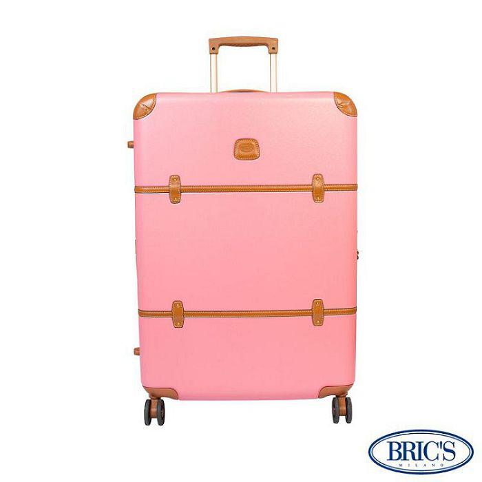 【米蘭 BRICS】優雅時尚 32吋 PC 牛皮 拉鍊拉桿 雙橡膠車輪 行李箱 - 粉紅