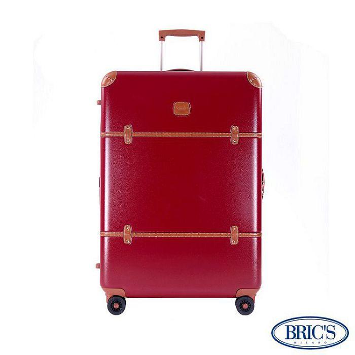【米蘭 BRICS】優雅時尚 32吋 PC 牛皮 拉鍊拉桿 雙橡膠車輪 行李箱 - 紅色