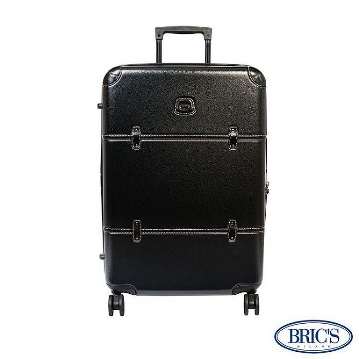 【米蘭 BRICS】優雅時尚 30吋 PC 牛皮 拉鍊拉桿 雙橡膠車輪 行李箱 - 黑色