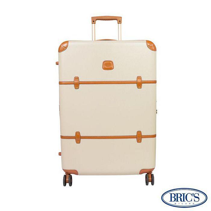 【米蘭 BRICS】優雅時尚 27吋 PC 牛皮 拉鍊拉桿 雙橡膠車輪 行李箱 - 米色