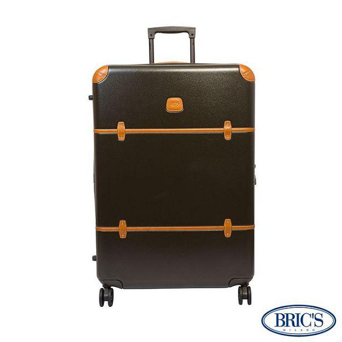 【米蘭 BRICS】優雅時尚 27吋 PC 牛皮 拉鍊拉桿 雙橡膠車輪 行李箱 - 橄欖綠