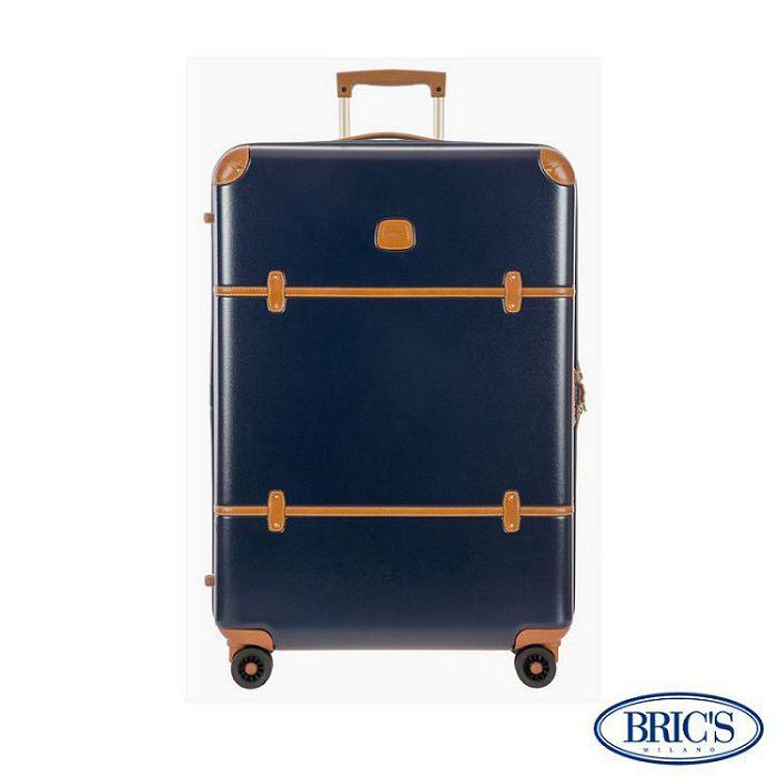 【米蘭 BRICS】優雅時尚 27吋 PC 牛皮 拉鍊拉桿 雙橡膠車輪 行李箱 - 藍色