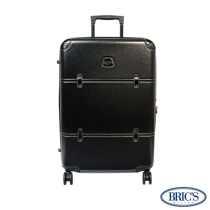 【米蘭 BRICS】優雅時尚 20吋 PC 牛皮 拉鍊拉桿 雙橡膠車輪 行李箱 - 黑色