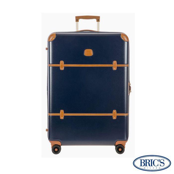 【米蘭 BRICS】優雅時尚 20吋 PC 牛皮 拉鍊拉桿 雙橡膠車輪 行李箱 - 藍色