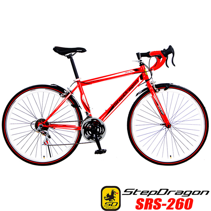 【StepDragon】SRS-260 A+ 高碳鋼異型管 搭配 24速 建大外胎 彎把公路車 (4配色可選)