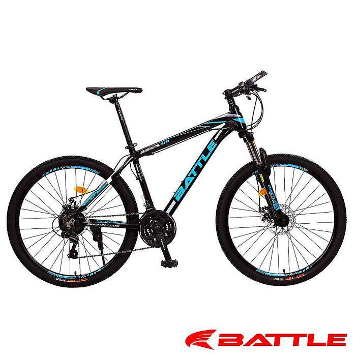 【BATTLE】 BMA-700 豪華版 搭配 日本Shimano 21速 液壓管鋁合金 登山車黑藍