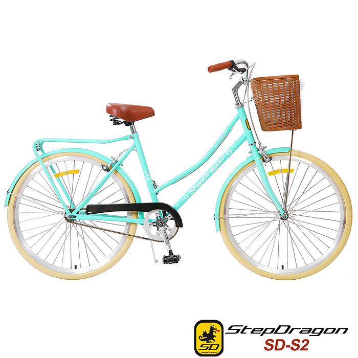 【StepDragon】StepDragon SD-S2 歐風復古式 淑女車 26吋 單速 搭配 米色外胎綠色