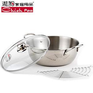 【潔豹】康潔台灣製#304不鏽鋼炸煮通用鍋/22cm