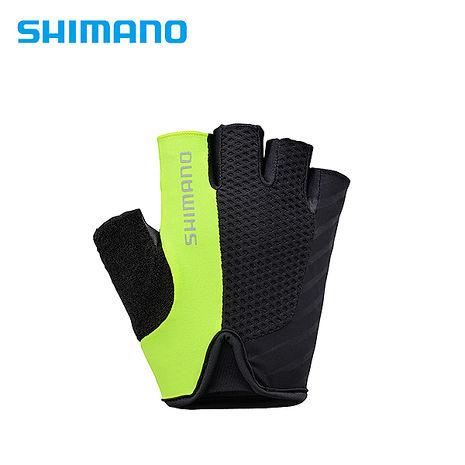 SHIMANO TOURING 自行車運動半指手套 男用 黃綠色S