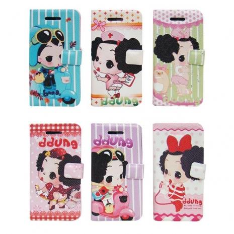 ddung 迷糊娃娃 iPhone5/5S 側掀式皮套(圖樣隨機出)-手機平板配件-myfone購物
