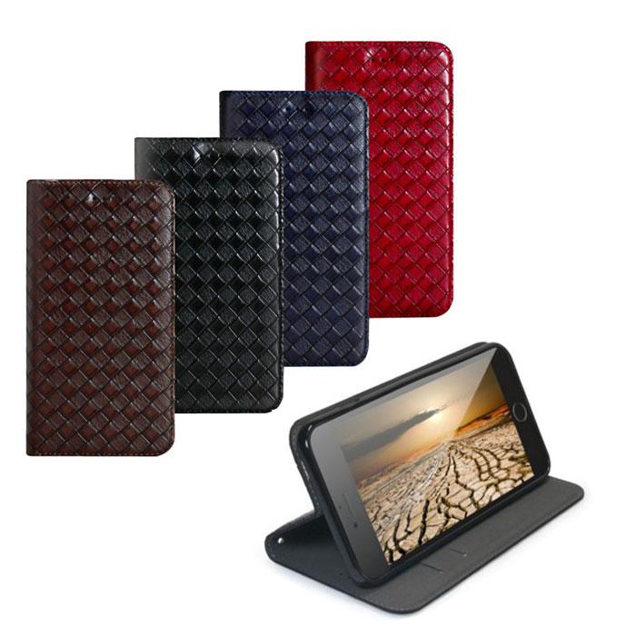 Xmart 編織側掀iPhone 6/6s Plus 5.5吋專用皮套黑