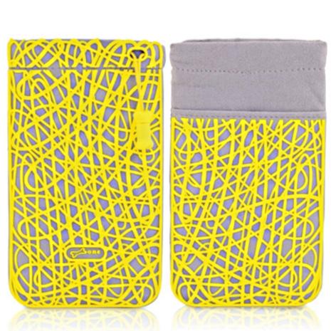 BONE / Phone Scribble 亂線超纖收納袋 (黃)