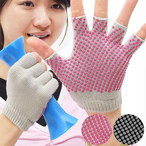 韻律瑜珈手套(女版單一尺寸)灰布粉點