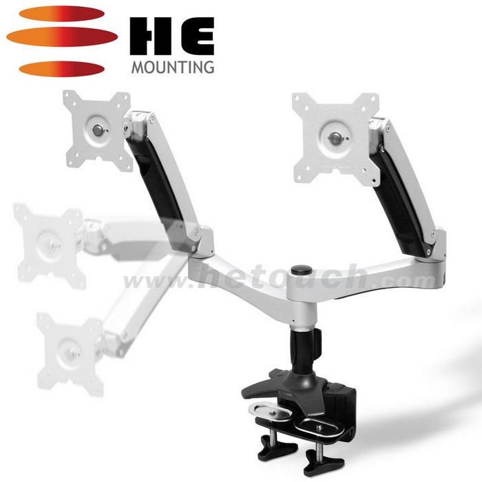 HE 27吋以下LED/LCD鋁合金夾桌型互動式雙螢幕架(H40ATC)