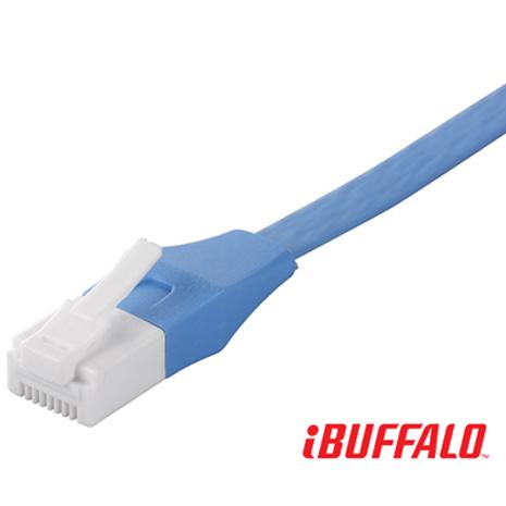【BUFFALO 】獨家專利水晶頭卡榫反折斷 Cat 6平板網路線(3M)-藍