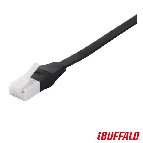 【加價購 】BUFFALO 獨家專利水晶頭卡榫反折斷 Cat 6平板網路線(3M)-黑