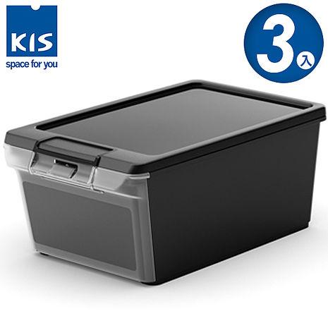 【義大利KIS創意收納】 TWIN BOX側開收納箱XS 黑 *3入