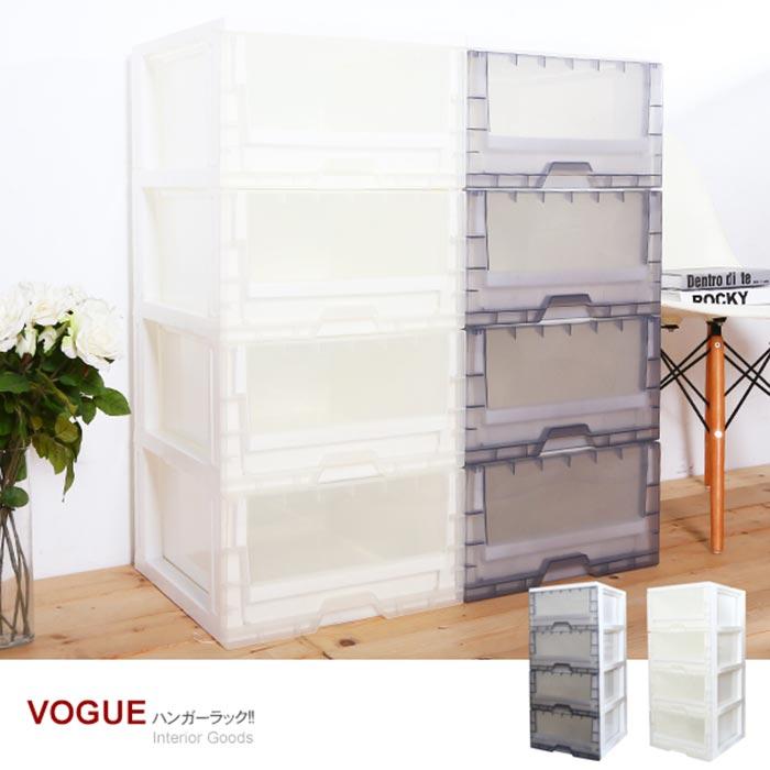 【MR.BOX】無印風透明4抽收納櫃104L (2色可選)透明黑