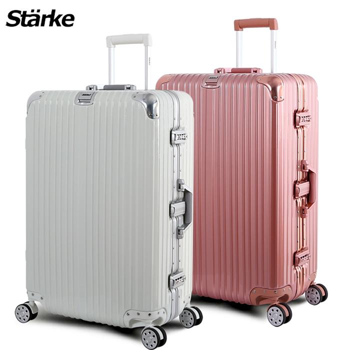德國設計Starke 28吋 PC+ABS 鏡面鋁框硬殼行李箱 -多色可選黑色