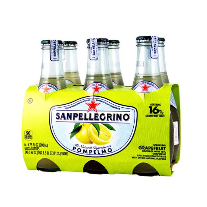 任選 S.Pellegrino 聖沛黎洛氣泡水果飲料-葡萄柚口味(200mlx24入)