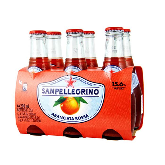 任選 S.Pellegrino 聖沛黎洛氣泡水果飲料-紅橙口味(200mlx24入)