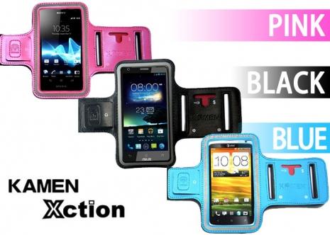 【KAMEN】手機、MP3專用《運動臂套/手腕套》(大尺寸:可支援6吋手機)黑色-5吋