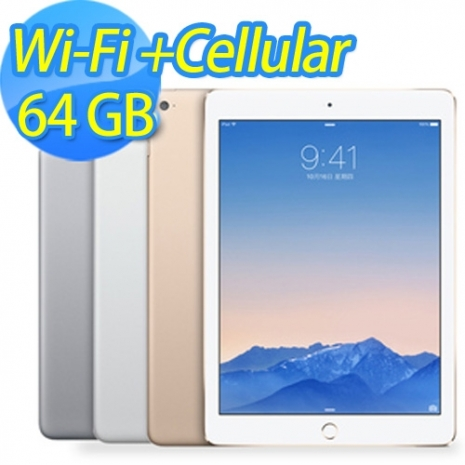 iPad Air 2 WiFi+Cellular 64G《精裝組》精品皮套+車充+螢幕保護貼+液晶擦拭布+防塵塞(再送電腦包)