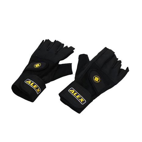 【ALEX】皮革手套-健身 重量訓練 半指手套 台灣製造 黑M