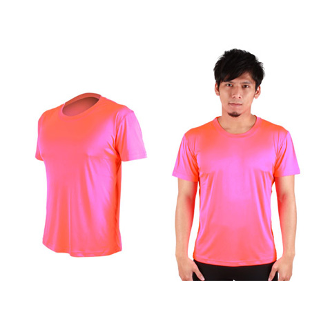 【HODARLA】FLARE 300 男女超柔肌膚排汗衫-短袖T恤 涼感 柔膚 台灣製 螢光粉