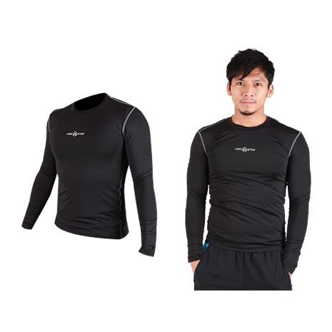 【FIRESTAR】男緊身長袖T恤-慢跑 路跑 運動T恤 黑灰L