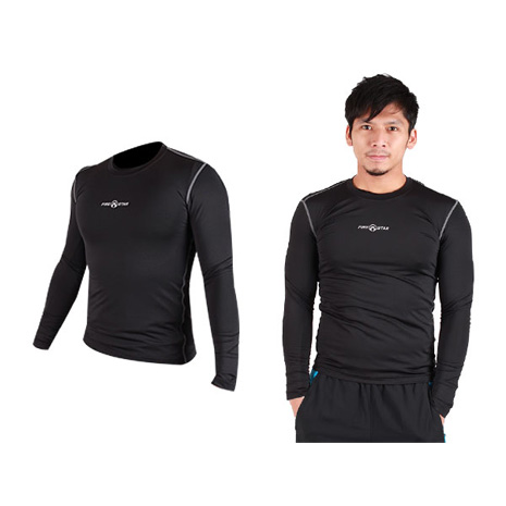 【FIRESTAR】男緊身長袖T恤-慢跑 路跑 運動T恤 黑灰M