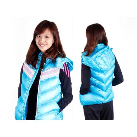 【ADIDAS】女連帽羽絨背心-保暖  水藍