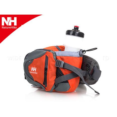 【NatureHike】運動水壺腰包-4色-登山 自行車 側背包 斜背包 附700ML水壺 橘灰F