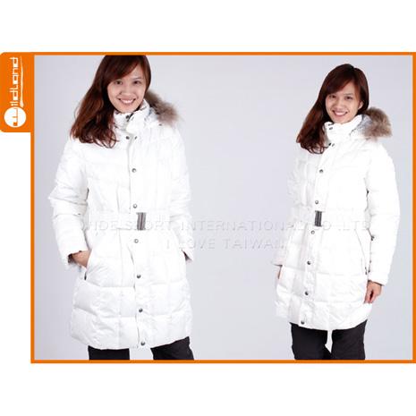 【WILDLAND】女羽絨外套 貉子毛 中長 大衣 米白