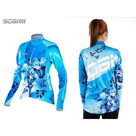【SOGK】幻影 女薄長袖車衣-反光條 自行車 腳踏車 單車 水藍S