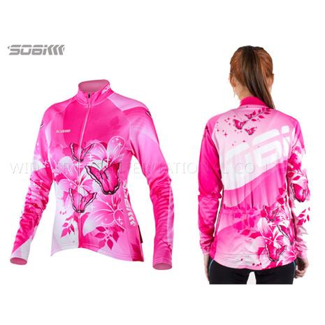 【SOGK】幻影 女薄長袖車衣-反光條 自行車 腳踏車 單車 粉紅