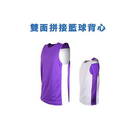 【INSTAR】男女 雙面穿籃球背心-運動背心 台灣製 紫白S