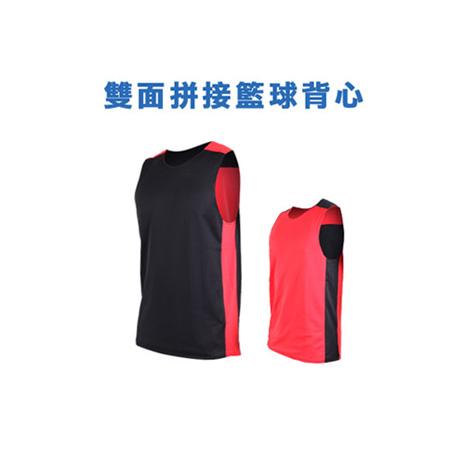 【INSTAR】男女 雙面穿籃球背心-運動背心 台灣製 黑紅S