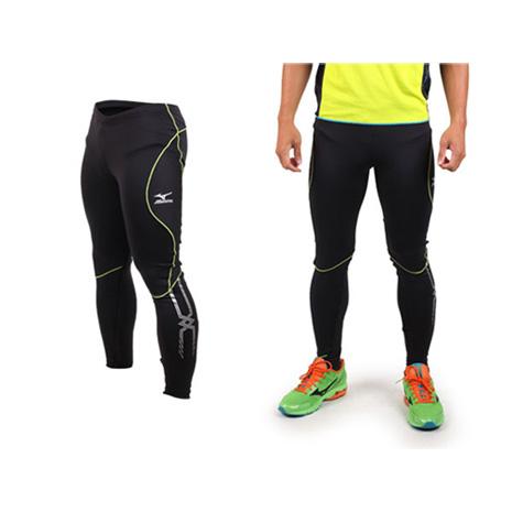【MIZUNO】男緊身長褲- 慢跑 路跑 緊身褲 束褲 刷毛 保暖 黑芥末綠
