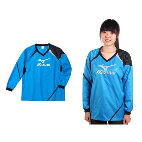 【MIZUNO】女長袖排球服-羽球 長袖T恤 暖身衣 美津濃 寶藍黑銀