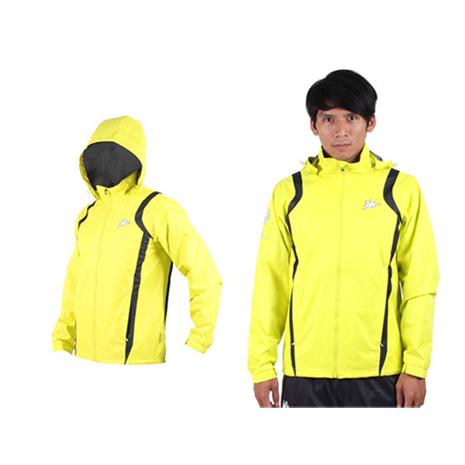 【KAPPA】男防風外套-連帽外套 風衣外套 防風 防潑水 雙層 芥末黃黑XL