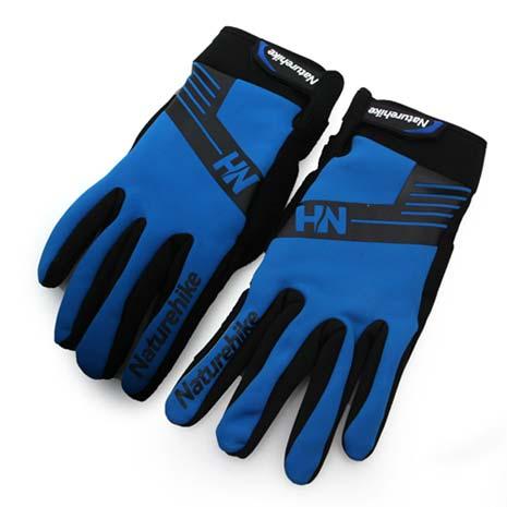 【NatureHike】雙層戶外運動手套-保暖 防風 藍黑L