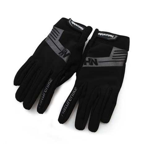 【NatureHike】雙層戶外運動手套-保暖 防風 黑灰XL
