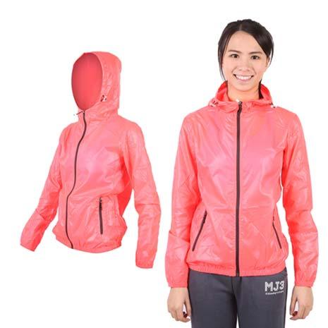 【SOFO】女果凍連帽外套-抗UV 風衣 可收納 螢光橘M