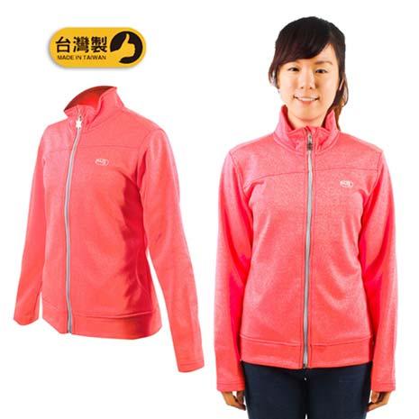 【MJ3】女休閒外套-立領 刷毛 保暖 台灣製 粉橘L