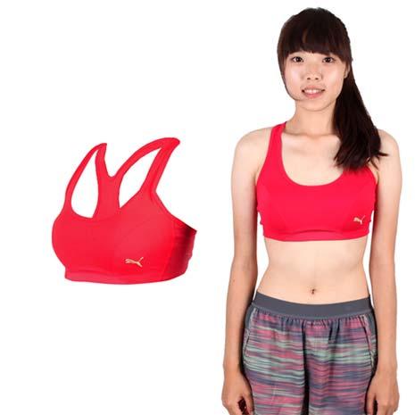 【PUMA】日本線韻律系列素色短版女運動背心-運動內衣 桃紅金